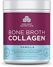 Ancient Nutrition Bone Broth Collagen Powder, 30 Servings of All-Natural Protein Powder Loaded with Bone Broth Co-Factors, 10g of Type I, II and III Collagen Per Serving (Vanilla), 18.2 Ounce