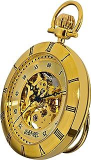 ساعة جيب اوتوماتيكية للرجال بتصميم يظهر التروس الداخلية وهيكل ومينا باللون الاصفر من اوغست شتاينر - رقم الموديل: AS8017