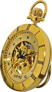 Men's AS8017YG Mechanical Skeleton Movement Yellow Gold Pocket Watch with Link Chain