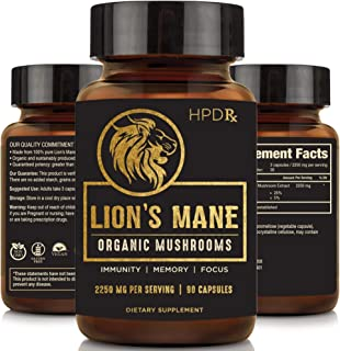 Organic Lion's Mane Mushroom Capsules - 2250 mg Max Capsule Dose - Nootropics Brain Supplement, Focus and Immune System Bo...