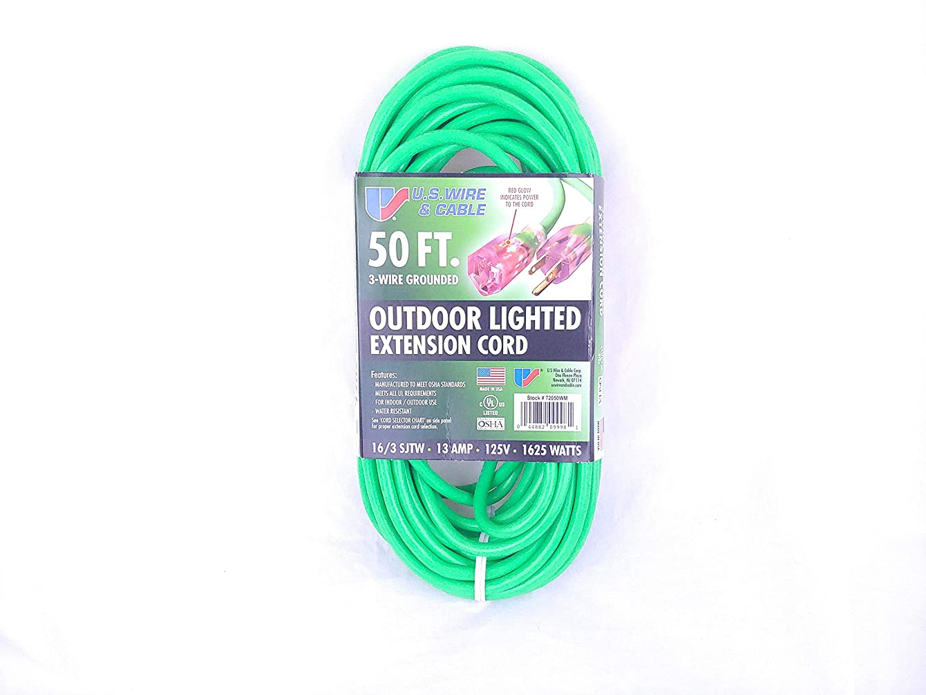 U.S. Wire & Cable Outdoor Lighted Extension Cord 50 FT. 3-Wire Grounded 16/3 SJTW 13 Amp 125V 1625 Watts
