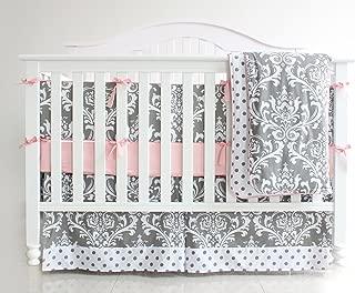 7 Pieces Set Grey Floral Baby Crib Nursery Bedding Set with Bumper