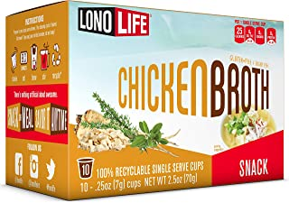 LonoLife Chicken Broth Snack, Single Serve Cups, 10 Count