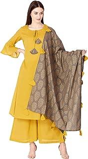 Ortange Women's Cotton Long Kurta And Palazzo With Dupatta Set (Yellow)