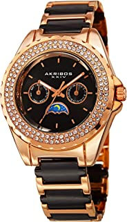 Akribos XXIV Women's AK961Multifunction Stainless Steel Quartz Watch with Ceramic Strap Two Rows Sparkling Crystals Bezel