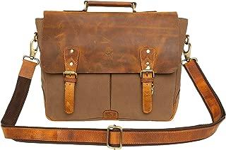 15 Inch Rustic Town Handmade Leather Canvas Vintage Crossbody Messenger Bag Gift Men Women Travel Work ~ Carry Laptop Computer Books ~ Sling Shoulder Bag ~ Everyday Office College School Satchel
