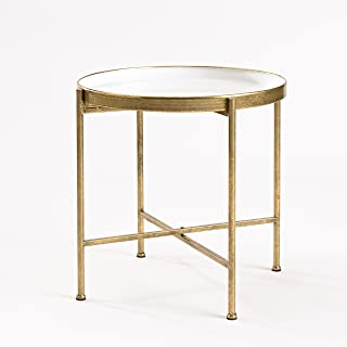 FirsTime & Co. Large Gild Pop Up Tray Side Table, 20