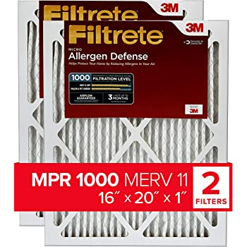 Filtrete 16x20x1, AC Furnace Air Filter, MPR 1000, Micro Allergen Defense, 2-Pack (exact dimensions 15.719 x 19.719 x 0.84)