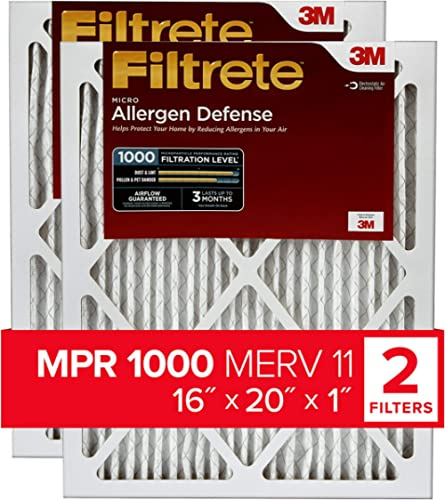 Filtrete 16x20x1, AC Furnace Air Filter, MPR 1000, Micro Allergen Defense, 2-Pack (exact dimensions 15.719 x 19.719 x...