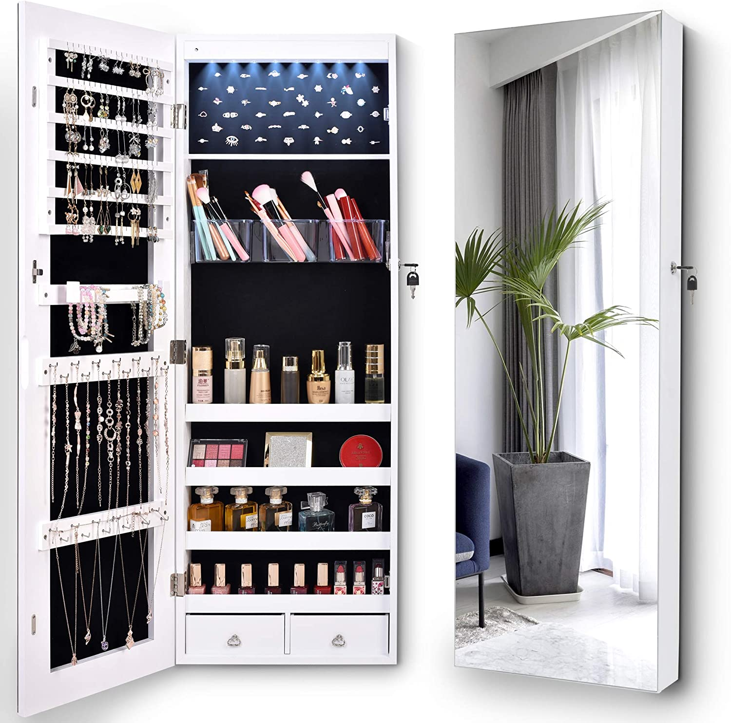 LVSOMT Full-Length Mirror Jewelry Cabinet, Jewelry Organizer and Storage with 8 LED Lights, Wall Mounted / Over The Door Hanging Large Jewelry Armoire with 2 Drawers, 4 Shelves for Bedroom (White)