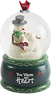 Pavilion Gift Company Snowman & Polar Bear-Green Musical Snow Globe Plays Have Yourself A Merry Little Christmas You Warm My Heart