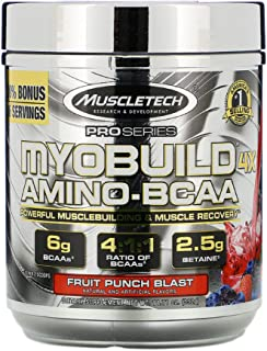 MyoBuild 4X More Muscle Amino-BCAA Boost Strength by Over 40% Betaine 2.5 g Fruit Punch Blast 11.71 oz 332 g