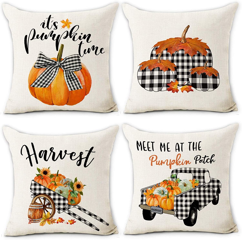 Hexagram Fall Pillow Covers 4 years warranty 18x18 Buffalo Trcuk Pumpkin Fa Superlatite Plaid