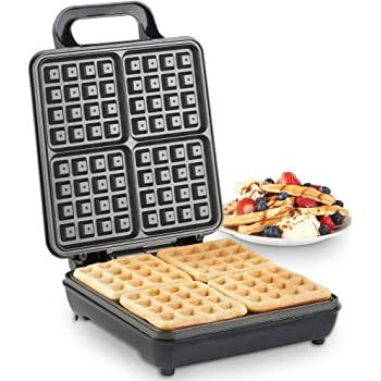 VonShef Waffle Maker, Large Quad Belgian Waffle Easy Clean Non-Stick Coated Plates & Automatic Temperature Control, Compact Stainless Steel Design – 1100W