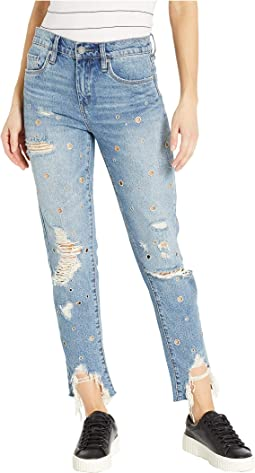 The Rivington High-Rise Tapered Distressed Jeans with Grommets in Bohemian Rap City