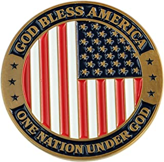 God Bless America Coin, Patriotic American Flag Military Soldiers Challenge Coin, One Nation Under God, USA Token of Indep...