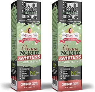 My Magic Mud - Activated Charcoal Toothpaste, Natural, Whitening, Detoxifying, 4 oz, Cinnamon Clove (2-Pack)
