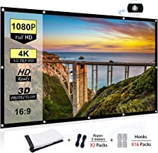 Portable Projector Screen 100 inch, 16:9 Foldable Anti-Crease HD 3D Indoor and Outdoor..
