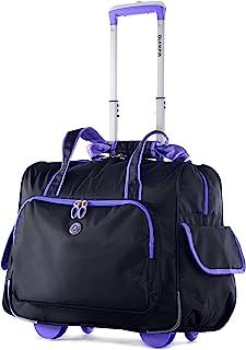 荷物アメリカRT-3500-BKプラスPU DELUXEファッションROLLING一泊旅行ブラック&パープル