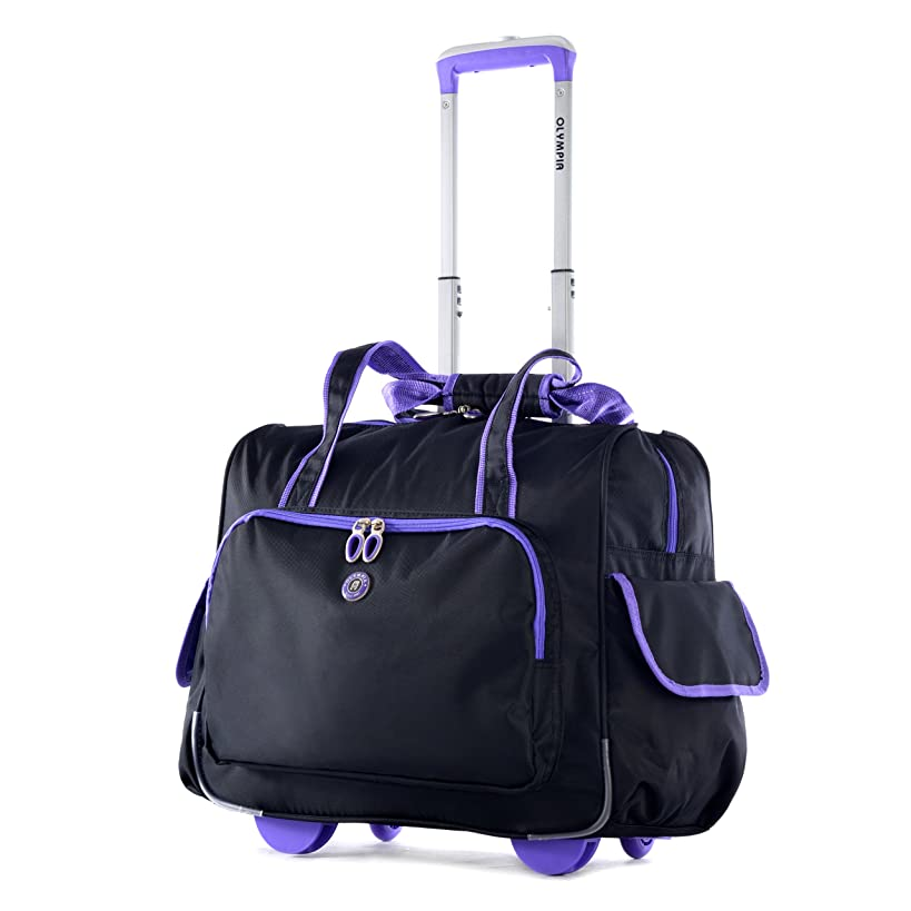 Olympia Deluxe Fashion Rolling Overnighter, Black/Purple, One Size