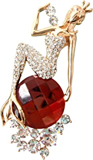 Navachi 18k Gold Plated Red Crystal Mermaid Az7998b Brooch pin