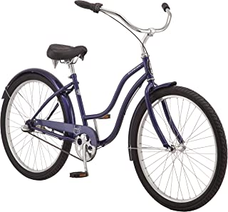 Schwinn Mikko Women's Cruiser Bike Line, Featuring 17-Inch/Medium Steel Step-Through Frames, 1-3-7-Speed Drivetrains, Full Front and Rear Fenders, and 26-Inch Wheels, Navy, Purple, Red, and Teal