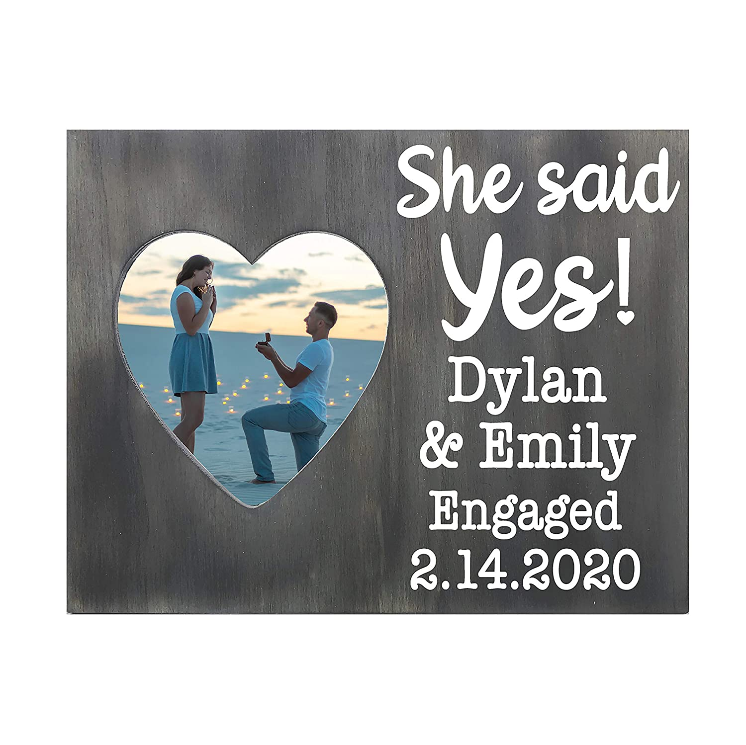 cheap Max 90% OFF Personalized Engagement Photo Frame Gift Said Yes He She