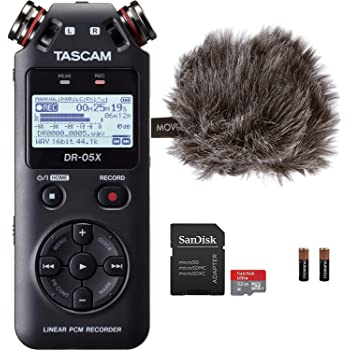 """Tascam DR-05X Stereo Handheld Digital Audio Recorder & USB Interface Bundle with Movo""""Deadcat"""" Windscreen and 32GB Micro SD Card (Latest Version)"""