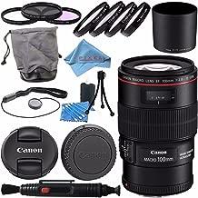 Canon EF 100mm f/2.8L Macro IS USM Lens 3554B002 + 67mm 3pc Filter Kit + 67mm Macro Close Up Kit + Lens Cleaning Kit + Lens Pen Cleaner + Fibercloth Bundle