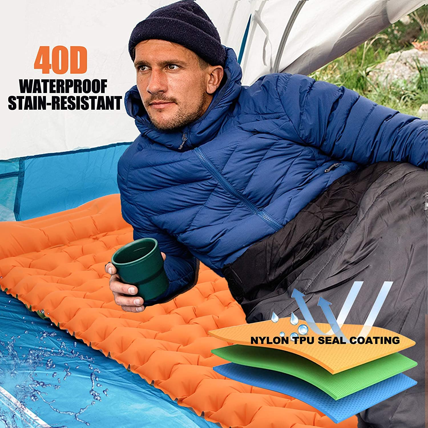 Upgrade Thickness /& Size Hiking Air Mattress Ultralight Camping Pads with Build-in Inflatable Pump Loowoko Sleeping Pad Camping Mat for Backpacking Gear