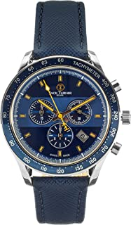 Jack Turner - Limited Edition Swiss Made Mens Sports Chronograph Quartz Watch with Leather Strap & Stainless Steel Case - ...