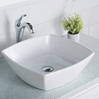 Kraus KCV-126 Ceramic Above counter Square Bathroom Sink, 16.5 x 16.5 x 6.6 inches, White