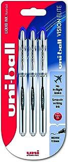 Uni-ball UB-200 Vision Elite Medium Rollerball Pens, 0.8mm Ball, Blue Gel, 3 Pack