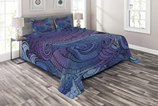 Ambesonne Abstract Coverlet, Ocean Inspired Graphic Paisley Swirled Hand Drawn Artwork Print, 3 Piece Decorative Quilted Bedspread Set with 2 Pillow Shams, Queen Size, Purple Blue