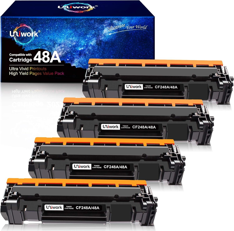 Uniwork Compatible Toner Cartridge Replacement for HP 48A CF248A use for Laserjet Pro M15w M29w M28w M16w M30w M31w M15a Printer Tray, 4 Black