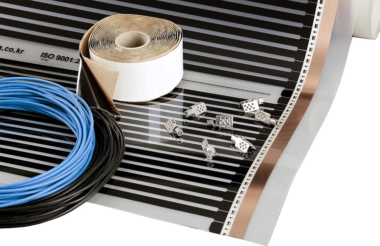 3m2 240W Pel/ícula calefactora 80W//m2, 230V, ancho 50cm Kit de calefacci/ón por suelo radiante el/éctrico por infrarrojos