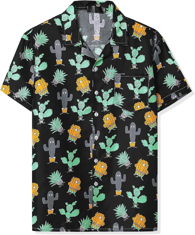 Lars Amadeus Men's Hawaiian Beach Shirts Short Sleeve Button Down Summer Color Block Printed Shirt