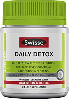 Swisse Daily Detox & Cleanse Dietary Supplement | Capsules Relieve Indigestion & Bloating | Supports Liver Function with G...
