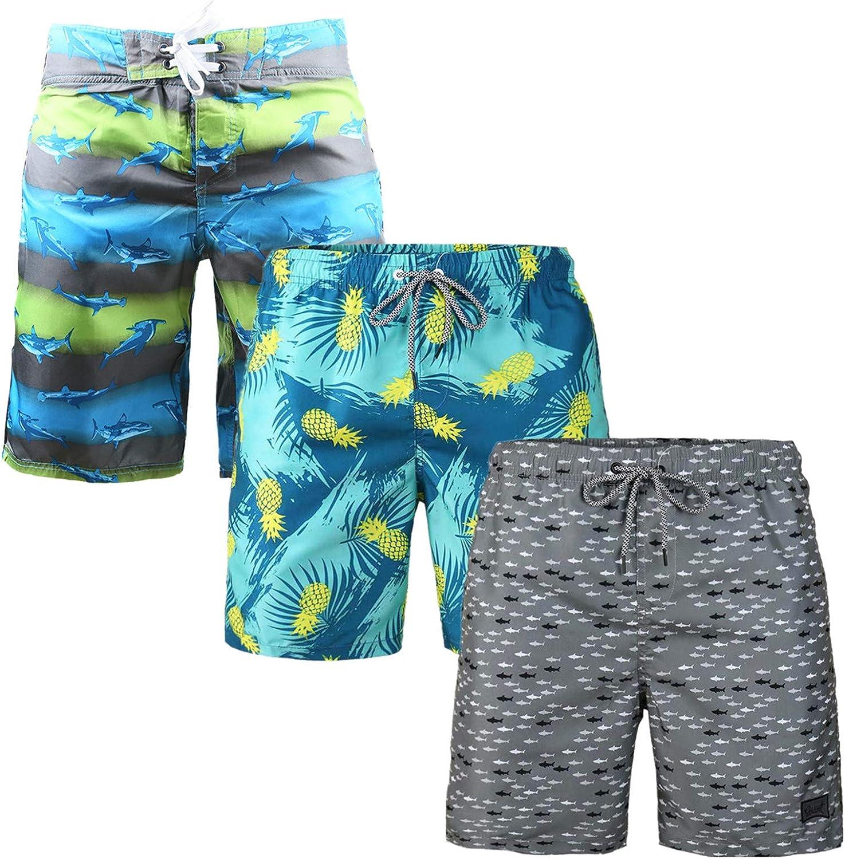 HURBE Men's Swim Trunk Elastic Waist Beach Waterproof Holiday Board Shorts