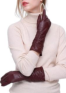 YISEVEN Women's Touchscreen Leather Gloves Mid-length Long Wrinkled Design