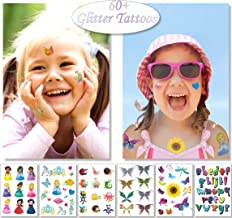 Glitter Temporary Tattoos for Kids Girls - 6 Sheets Fun Sparkle Stickers - 60+ Shining Princess Butterfly Bug Alphabet Fake Tattoo Designs - Rainbow Flash Waterproof Transfers - Great Party Favors