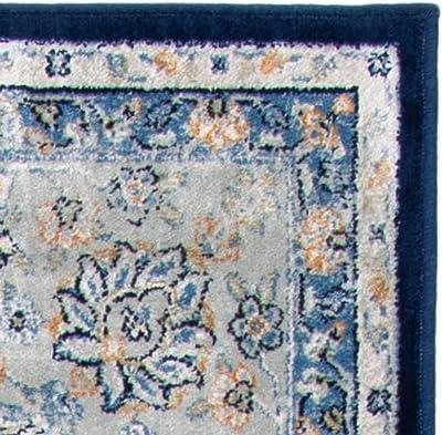 Tapis rectangulaire d' inspiré par le vintage tissé , collection Jardin persan, PGV606, en bleu marine / bleu clair, 122 X 170 cm pour le salon, la chambre ou tout autre espace par SAFAVIEH.
