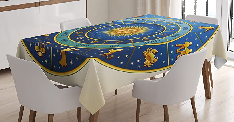 Ambesonne Astrology Tablecloth, Wheel of Astrological Signs Names and Dates with Moon Sun in Middle, Dining Room Kitchen Rectangular Table Cover, 52 W X 70 L inches, Yellow Cream qrn3267847120412