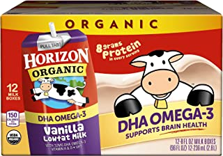 Best Horizon Organic, Low Fat Milk with DHA Omega-3, Vanilla, 8-Oz Aseptic Cartons (Pack of 12), Juice Box Alternative, Supports Brain Health Reviews