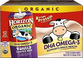 Horizon Organic, Low Fat Milk with DHA Omega-3, Vanilla, 8-Oz Aseptic Cartons (Pack of 12), Juice Box Alternative, Supports Brain Health