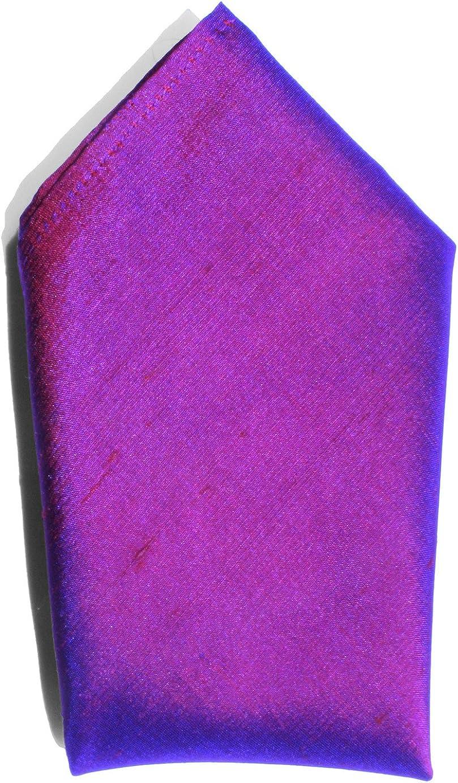 Iridescent Plum Purple Dupioni Silk Handkerchief - Full-Sized 16
