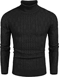 COOFANDY Men's Slim Fit Turtleneck Sweater Cable Knit Ribbed Cotton Pullover Sweaters