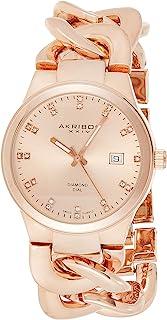 Akribos XXIV Swiss Quartz Diamond Watch- Beveled Bezel - Sunburst Dial - Date Display- Luminous Hands - Jewelry Chain Brac...