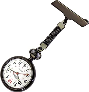 NW-Pro Lapel Nurse Watch - Large White Dial - Water Resistant - Braided - Gunmetal