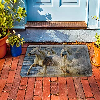 "Prime Leader Indoor Outdoor Doormat Horses Running in The Sea 18"" x 30"" Dirt Trapper Mats with Rubber Backing for Front/Back Door&High Traffic Area Easy Clean"